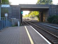 Looking along the down platform and through Bethel Road overbridge at the off-set up side platform at Llansamlet Station near Swansea.<br><br>[David Pesterfield&nbsp;16/10/2012]