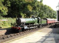 GWR 2-8-0 no 3803 with a train at Shackerstone on the Battlefield Line on 14 October 2012.<br><br>[Peter Todd&nbsp;14/10/2012]