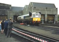 The first two examples of BRCW Type 2 locomotives to be built (in 1958) emerge from Eastfield MPD in a special ceremony in 1991, after being repainted in their original livery.<br><br>[David Spaven&nbsp;//1991]