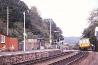 Signalman Billy Butt changes tokens at Eggesford on the Barnstaple Line  in July 1986.<br><br>[Ian Dinmore&nbsp;/07/1986]