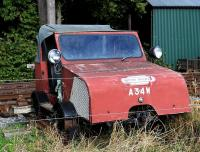 Former British Railways track maintenance and inspection vehicle no A34W on display at Milton of Crathes on 10 October 2012.<br><br>[Brian Taylor&nbsp;10/10/2012]