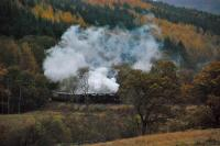 44871 and 45407 round the curve immediately south of Arrochar and Tarbet station with a return SRPS train from Fort William to Polmont.<br><br>[Ewan Crawford&nbsp;27/10/2012]