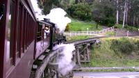 2-6-2T 8A takes a train out of Belgrave for Gembrook over the Monbulk Creek trestle bridge on 13 October 2008.<br><br>[Colin Miller&nbsp;13/10/2008]