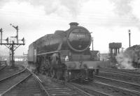 Stoke based Black 5 no 45037 alongside Carlisle no 12 box opposite Upperby shed in March 1964.<br><br>[K A Gray&nbsp;07/03/1964]