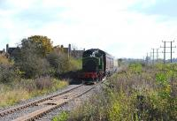 Barclay 0-6-0ST <I>Salmon</I> on the southern extension to the Swindon and Cricklade Railway approaching Blunsdon Station on 27 October. Following the opening of the SCR's Taw Valley Halt, the loco's can now run round their trains.<br><br>[Peter Todd&nbsp;27/10/2012]