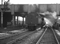 Standard Class 5 4-6-0s nos 73069+73134 coming off the MRTS/SVRS <I>North West Tour</I> at Bolton on 20 April 1968. The pair had brought in the special from Stalybridge and would hand over to 48773 for the next leg as far as Stockport [see image 22020]. <br><br>[K A Gray 20/04/1968]