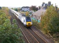 The morning HST service from Leeds to Aberdeen passes the former station at Fordoun (closed 1956) between Laurencekirk and Stonehaven on 20 October 2012. <br><br>[John McIntyre&nbsp;20/10/2012]