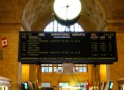 The departure board at Toronto Union station in October 2003.<br> <br> <br><br>[John Thorn&nbsp;/10/2003]