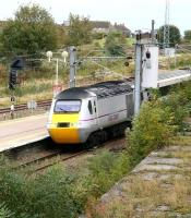 The north end of Berwick station on 12 October 2013, with the 07.52 East Coast Trains Aberdeen - London Kings Cross HST about to run through. <br><br>[John Furnevel&nbsp;12/10/2012]