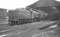 Castle class 4-6-0 no 5047 <I>Earl of Dartmouth</I> photographed on Wolverhampton's Stafford Road shed (84A) in August 1962, one month before official withdrawal by BR. The shed itself closed completely in September the following year. An industrial estate now covers the site. <br><br>[K A Gray&nbsp;15/08/1962]