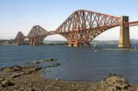 This may at first glance appear to be a fairly standard shot of the Forth Bridge, taken in April 1984. What is unusual about it is there's not a single bit of scaffolding to be seen [see image 3644].<br><br>[Bill Jamieson&nbsp;/04/1984]