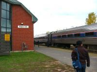 The Toronto to New York Amtrak train calls at Niagara Falls, Ontario, in October 2003. The whole journey takes over 13 hours, including 1.5 hours for US immigration!<br><br>[John Thorn&nbsp;/10/2003]