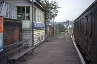 A pre-electrification scene at Braintree on October 9th 1976. The DMU driver and conductor are enjoying a brew up in the signal box, which still bore the full name �Braintree and Bocking�. A year later, EMUs had taken over and the box had been demolished. <br><br>[Mark Dufton&nbsp;09/10/1976]