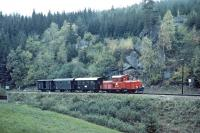 No, not someone's garden railway, but the 760mm Waldviertelbahn of the Austrian State Railways in 1985. No. 2091.007 works a Gm�nd to Gross Gerungs train in the vicinity of Langschlag.<br><br>[Bill Jamieson&nbsp;07/10/1985]