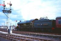 Scene at Worcester Shrub Hill on 8 August 1965. The 'Ian Allan Railtour' special had arrived earlier behind no 4079 <I>Pendennis Castle</I>. The 4-6-0 was preparing to set off on the return journey to Paddington via Swindon.<br><br>[Robin Barbour Collection (Courtesy Bruce McCartney)&nbsp;08/08/1965]