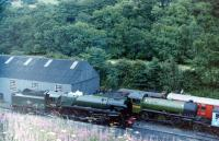 Class 9F 2-10-0 no 92220 <I>Evening Star</I> and (6)2005 on shed at Grosmont in July 1986. <br><br>[Colin Miller&nbsp;/07/1986]
