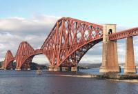 Another scaffolding-free shot of the Forth Bridge, this one taken on 5 November 2012. Nice and shiny in it's new paint too! [See image 40857]<br><br>[Brian Taylor&nbsp;05/11/2012]