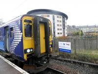 Electrification notice at Paisley Canal terminus on 7 November 2012.<br><br>[John Yellowlees&nbsp;07/11/2012]