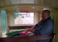 Room with a view: the guard on the narrow gauge train at the Chasewater Railway inspects his flags. The staff here kindly ran a special train for us after we dallied too long on the standard gauge.<br><br>[Ken Strachan&nbsp;16/09/2012]