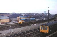 47500 <I>Great Western</I> brings an excursion into Southport (Chapel St) in May 1980. The Coal Concentration Depot is visible behind with a Derby DMU stabled in the carriage sidings. 47500 previously ran as un-named D1943 [See image 40681] and continued in service with West Coast until January 2013 when it suffered fire damage at Salford and was stored at Carnforth.<br><br>[Mark Bartlett&nbsp;21/05/1980]