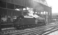 Newton Heath Black 5 no 45203 stands on one of the centre roads at Manchester Victoria. The photograph is thought to have been taken in 1968, the year of its withdrawal.<br><br>[K A Gray&nbsp;//1968]