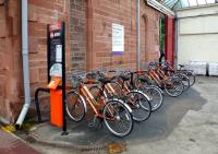 Bicycle hire point at Dumfries station on 28th June 2012, with some actually out on hire. This scheme had a slow start in 2010. According to cycling news website, in the first two months the cost per trip worked out at �1000!<br><br>[Colin Miller&nbsp;28/06/2012]
