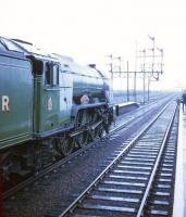 The LCGB 'East Riding Limited' of 21 September 1968 during a photostop at Barnetby before heading west to reach Hull via Applehurst Junction and Selby. The special, which originated from Kings Cross, was hauled throughout by 4472 <I>Flying Scotsman</I>. [See image 23701]<br><br>[Robin Barbour Collection (Courtesy Bruce McCartney) 21/09/1968]
