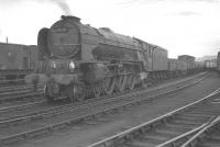A1 Pacific no 60129 <I>Guy Mannering</I> with a freight in Heaton Yard on 25 May 1963. The 52D shed plate shows the locomotive to have been a resident of Tweedmouth shed at that time.<br><br>[K A Gray&nbsp;25/05/1963]