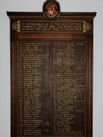 The GNSR memorial at Aberdeen station to men of the Company's service killed in the Great War. By the end of that war the total number of staff serving their country was 609, or 22% of the workforce. Of these 93 were to die and are recorded on the oak memorial in raised gilt letters. A wreath was placed here by the Great North of Scotland Railway Association on 11 November 2012.<br><br>[Brian Taylor&nbsp;11/11/2012]
