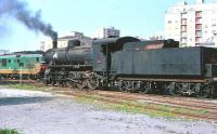 Italian 2-8-0 locomotive 740-193 on shed at Cagliari, Sardinia, in March 1977.<br><br>[Peter Todd&nbsp;/03/1977]