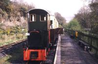 Platform scene at Pontprenshitw in May 2005 on what is now the narrow gauge Teifi Valley Railway. The 2ft gauge line is built along the trackbed of the Great Western extension to the original 1864 Carmarthen and Cardigan Railway route to Llandyssul. The GWR's 1895 extension took the line west to Newcastle Emlyn.<br><br>[Ian Dinmore&nbsp;/05/1988]