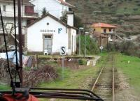 Railbus driver's view of the since closed station at Ribeirinha on the narrow gauge Tua Valley line from Mirandela in March 2008. At this time two trains a day made the full length journey down to the Douro Valley junction station at Tua but there were a couple of additional ones serving the small stations in the upper reaches of the valley around Mirandela. However, 2009 saw the line close after one of the railbuses derailed on poor track and it has never reopened.<br><br>[Mark Bartlett&nbsp;18/03/2008]
