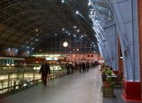 The restored St Pancras train shed looks rather nice at dusk on 9th November. Notice the Dent clock is working - unlike the modern digital clock on the South Eastern lines, which got confused at the onset of winter time, and apparently has not worked since.<br><br>[Ken Strachan&nbsp;09/11/2012]