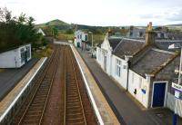 View west from the footbridge at Insch station on 16 October 2012.<br><br>[John McIntyre&nbsp;16/10/2012]