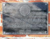 The plaque marking the site of Seahouses station on the North Sunderland Light Railway, photographed in October 2012. The branch, which ran from Chathill on the ECML, operated between 1898 and 1951. [See image 16294]<br><br>[John Furnevel&nbsp;08/10/2012]
