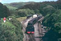 Panorama of the terminus at Devils Bridge in the early 1970s, taken from the overbridge at the station throat. No.8 <I>Llewellyn</I> has just run round its train of six coaches while two others wait in the sidings, probably to be added in to the last train of the day. Loco and coaches are all in BR Blue with the double arrow symbol. <br><br>[Mark Bartlett&nbsp;//1972]