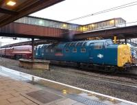 York's station lights do their best to combat the overall gloom during a heavy downpour on the morning of 21 November 2012. Meantime, Deltic 55002 <I>'The Kings Own Yorkshire Light Infantry'</I> prepares to depart on time at 09.41 with streamlined Stanier Pacific no 6229 <I>'Duchess of Hamilton'</I> in tow. The Duchess is en route to Shildon where she will join recently repatriated A4s 60008 <I>'Dwight D Eisenhower'</I> and 60010 <I>'Dominion of Canada'</I>. [See image 40640]<br><br>[Vic Smith&nbsp;21/11/2012]