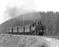 One of the last steam strongholds in Austria was Schwarzenau, a sub-shed of Gm�nd in the north east of the country, which employed lightweight 2-8-2Ts of class 93.13 on branches off the Vienna to Prague main line. Here No. 93.1414 is seen soon after departing from Zwettl, some 22km south of Schwarzenau, on 9 September 1975 with the early afternoon train to Martinsberg-Gutenbrunn. <br><br>[Bill Jamieson&nbsp;09/09/1975]