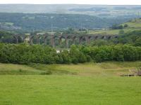 The Hewenden Viaduct between Keighley and Queensbury on the former Keighley to Bradford & Halifax line as seen from the A644 Halifax to Keighley Road on the outskirts of Denholme <br><br>[David Pesterfield&nbsp;/07/2012]