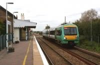 An Ashford to Hastings two car Class 171 Turbostar slows to call at Appledore in Kent on 26 October 2010.<br><br>[John McIntyre&nbsp;26/10/2010]