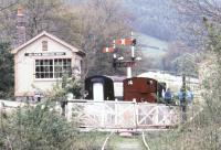 Looking north over the level crossing at Bronwydd Arms station on the Gwili Railway in May 1988.<br><br>[Ian Dinmore&nbsp;/05/1988]