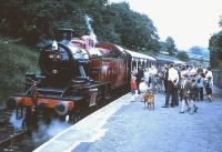 Boarding at Oxenhope on the KWVR in the 1960s behind  Ivatt class 2MT 2-6-2T no 41241.<br><br>[Robin Barbour Collection (Courtesy Bruce McCartney)&nbsp;//]