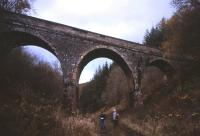 This fine overbridge, seen here looking north on 15th November 2012, carries an unclassified road over the Waverley Route from the A7 road to Torwoodlee Mains farm, just north of Galashiels.<br><br>[David Spaven&nbsp;15/11/2012]
