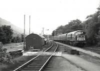 The 18.35 Glasgow Queen Street - Oban, with an NBL Type 2 in charge, approaching Arrochar and Tarbet in July 1967. Here it will cross the up Fort William - Kings Cross sleeper [see image 41183].<br><br>[Colin Miller&nbsp;/07/1967]