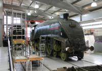 A4 60010 <I>Dominion of Canada</I> arrived back at Shildon for the anniversary reunion in <I>as withdrawn</I> condition. [See image 40640] However, restoration work has now started and the loco is seen here, separated from its corridor tender, in the Locomotion display hall. <br><br>[Mark Bartlett&nbsp;27/11/2012]