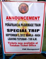 Be honest: when did you last see a pilgrimage train advertised in the UK? I was tempted by this track bashing opportunity; but the thought of getting up at 3am, and not getting back to bed until probably 10 the following morning, rather put me off. But full marks to PNR for tapping into the pilgrim market - and utilizing track not normally used by passenger trains in daylight hours.<br><br>[Ken Strachan&nbsp;01/09/2012]