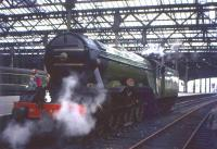 Preserved A3 Pacific no 4472 <i>Flying Scotsman</i> simmers gently at Waverley's Platform 8 on 9th May 1964. The steam celebrity had arrived in the city earlier that day with <I>'Pegler's Pullman'</I> [see image 40411].<br><br>[Frank Spaven Collection (Courtesy David Spaven)&nbsp;09/05/1964]