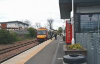 A quiet period at Alloa station on 9 May 2012. The train is the 12.36 departure for Glasgow Queen Street.<br><br>[John Furnevel&nbsp;/05/2012]
