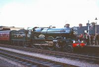 A gleaming 4079 <I>Pendennis Castle</I> at Worcester Shrub Hill on 8 August 1965 with an Ian Allan Railtour. The special had arrived from Paddington via Oxford and returned home via Swindon and the GWR main line.<br><br>[Robin Barbour Collection (Courtesy Bruce McCartney)&nbsp;08/08/1965]