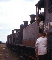 Not quite ready for the road - the photographer's sons play trains on J83 No.68479 on the scrap line at Bo'ness in Apriil 1963.  The Holmes 0-6-0T, dating from 1901, had been withdrawn from Eastfield shed the previous October.<br><br>[Frank Spaven Collection (Courtesy David Spaven)&nbsp;/04/1963]